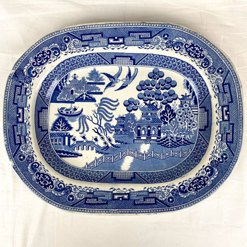 Vintage Large Staffordshire WB&C England Blue Willow Platter, Very Rare Mark!