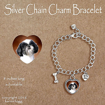 SHIH TZU JAPANESE CHIN DOG - CHARM BRACELET SILVER CHAIN & HEART