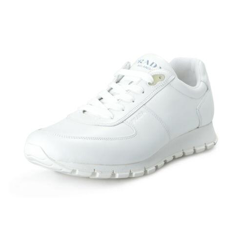 Prada Mens Calf Plume H White Leather Fashion Sneakers Shoes US 10 IT 9 EU 43