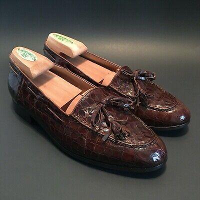 Polo Ralph Lauren Made in Italy Brown Alligator Crocodile Tassel Loafers  - Sz 8