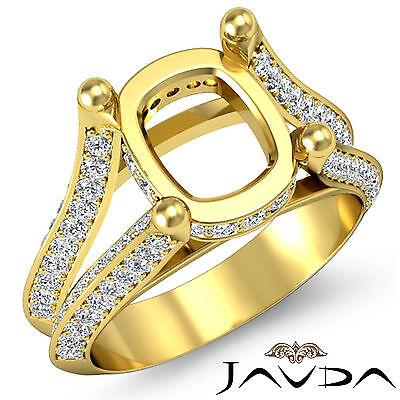 Cushion Shape Semi Mount Diamond Wedding Ring 18k Yellow Gold Split Shank 1.2Ct