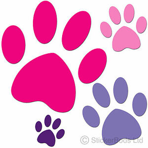96x PAW PRINT STICKERS car decals animal ANY COLOURS