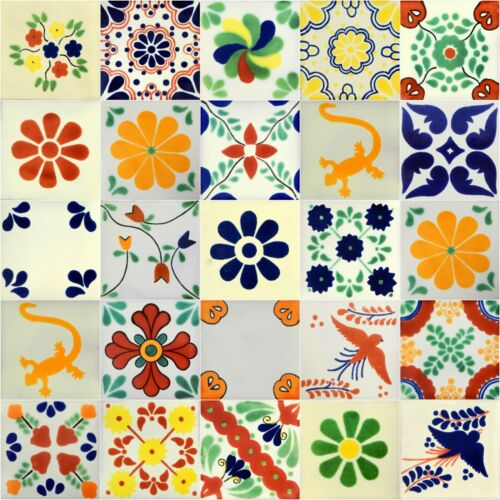 "25 4x4"" White Desings Mexican Ceramic Tile Backsplash Handpainted"