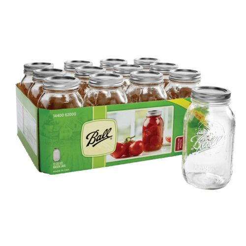 BALL 12PK 32oz Regular Mouth Quart Canning Mason Jars, Lids & Bands Clear Glass