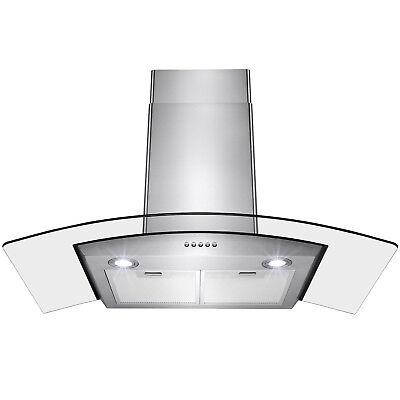 "36"" Stainless Steel Wall Mount Range Hood Push Button LED Light Lamp Mesh Filter"