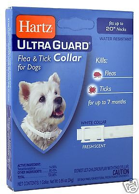 """Hartz Ultra Guard Flea & Tick White Collar For  Dogs up to 20"""" (up to 50cm)"""