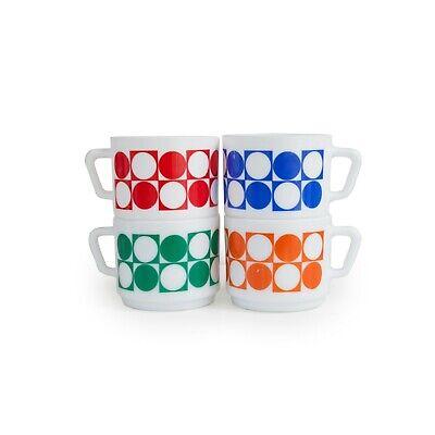 Lot de 4 tasses Arcopal motif géométrique