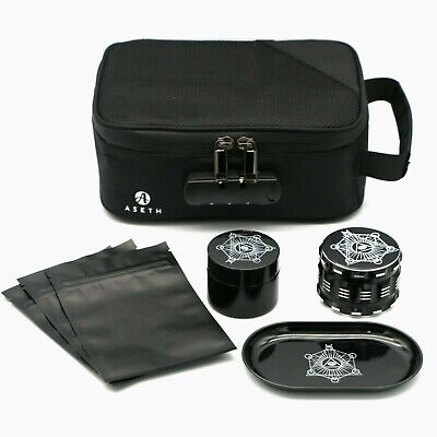 Smell Proof Bag with lock, stash box with accessories, lockbox, odor proof pouch