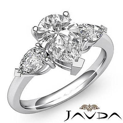 3 Stone Basket Style Pear Shape Diamond Engagement Ring GIA I Color VS2 1.5ct