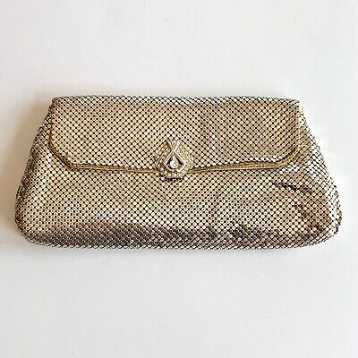 Vintage Whiting & Davis Silver Metal Mesh Clutch Purse with Rhinestone Clasp Davis Metal Mesh Clutch