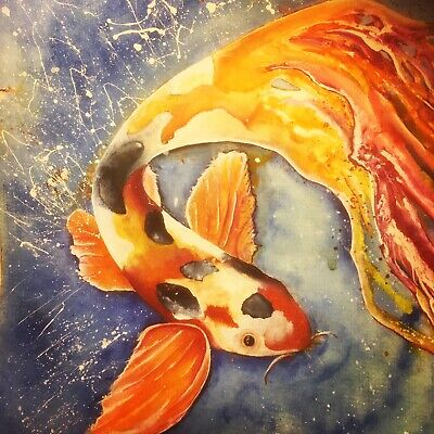 Signed Koi Carp Painting In India Ink. A4 Print
