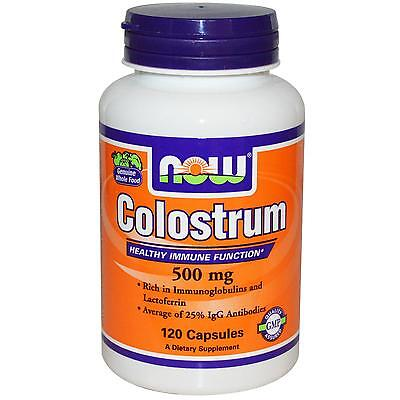 NOW FOODS - COLOSTRUM - 500mg x 120 CAPS - HEALTHY IMMUNE SYSTEM, LACTOFERRIN