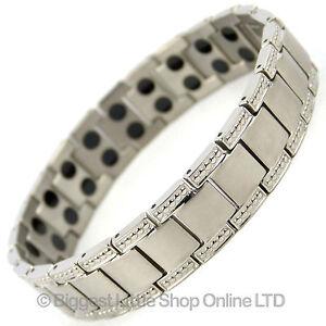 Mens TITANIUM Magnetic Bracelet Chrome 44 Magnets NdFeB Neodymium Therapy NEW