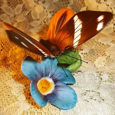 FRANKLIN MINT Butterflies of the World BUTTERFLY & FLOWER Porcelain Figurine