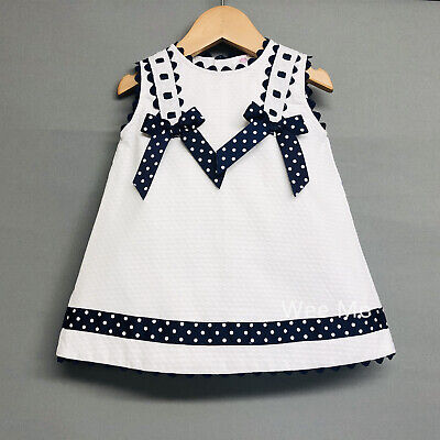 *SALE* Beautiful Wee Me Baby Girl White Spanish Dress Navy Polka Dot Bow