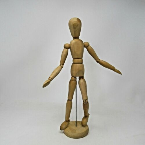 "Vintage Wooden Artist Figure Moveable Joints Taiwan 13"" tall Poseable"
