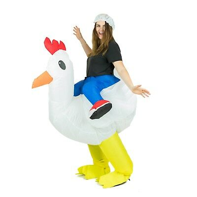 Adult Inflatable Chicken Animal Mascot Costume Outfit Suit Halloween One Size