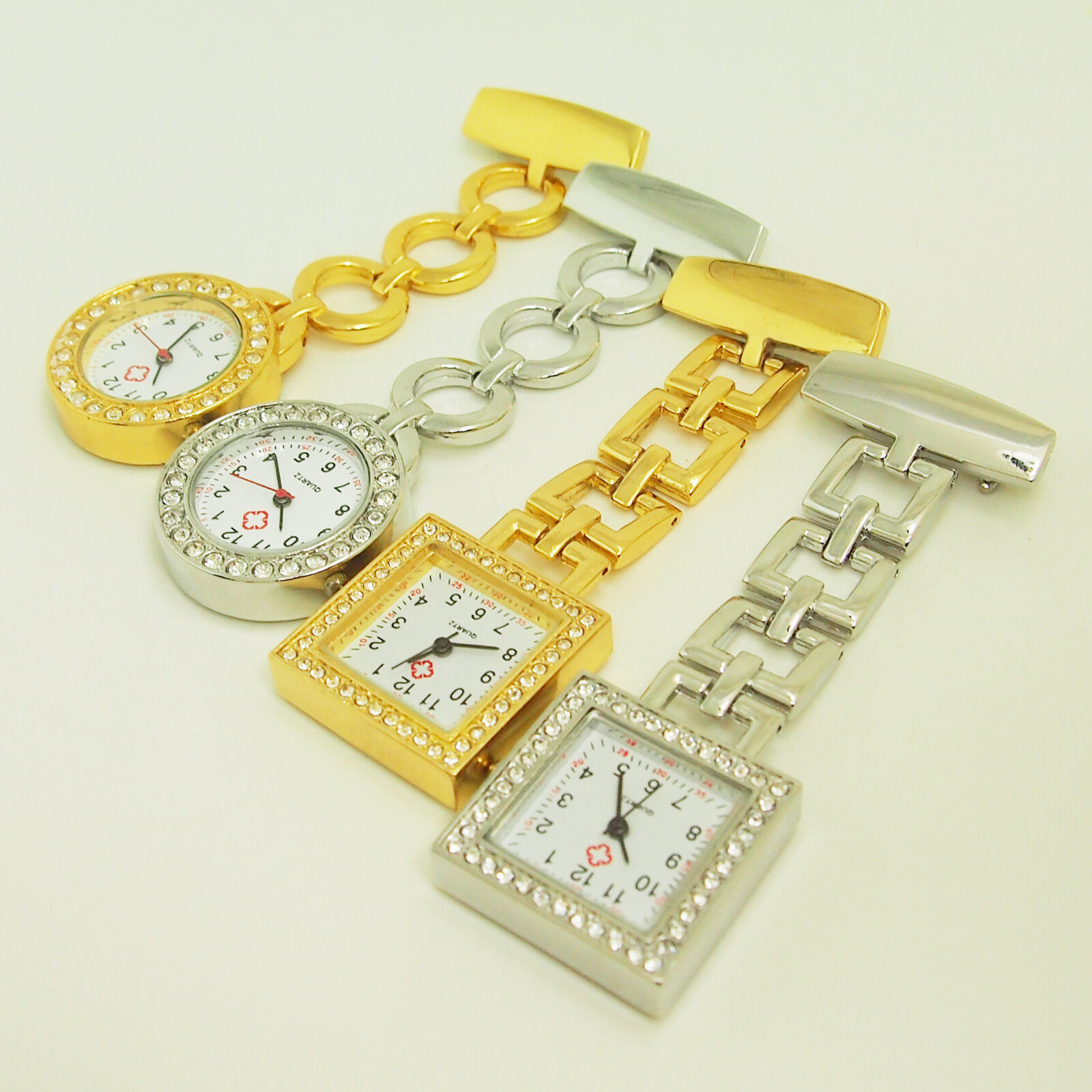 ASAMO Damen Uhr Schwesternuhr Pflegeruhr Uhr mit Strass gold silber rund eckig