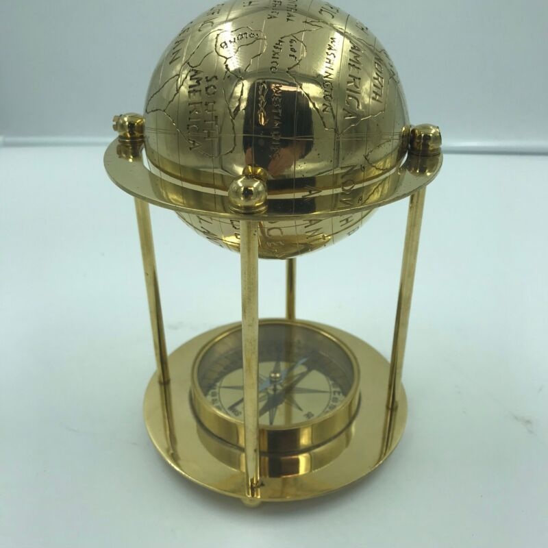 "Nautical Marine Navigation 8"" Brass Globe With Compass Home Office Decor"