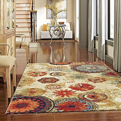 Rugs Area Rugs Carpets 8X10 Rug Floor Big Modern Large Cool Beige Floral Rugs