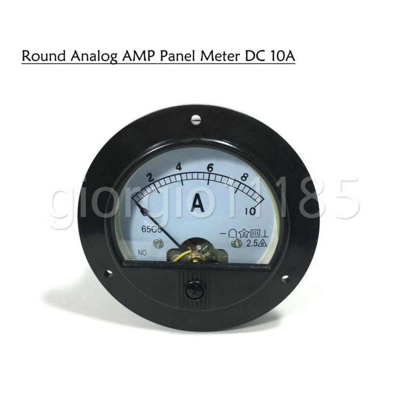 US Stock DC 0 ~ 10A Round Analog AMP Current Pointer Needle Panel Meter Ammeter