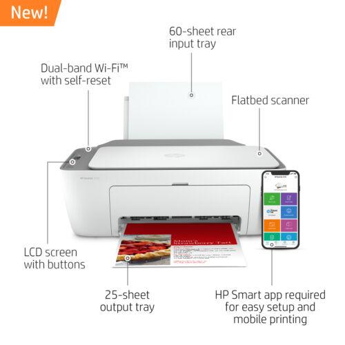 New HP DeskJet 2722 All in One Wireless Color Inkjet Printer Instant Ink Ready