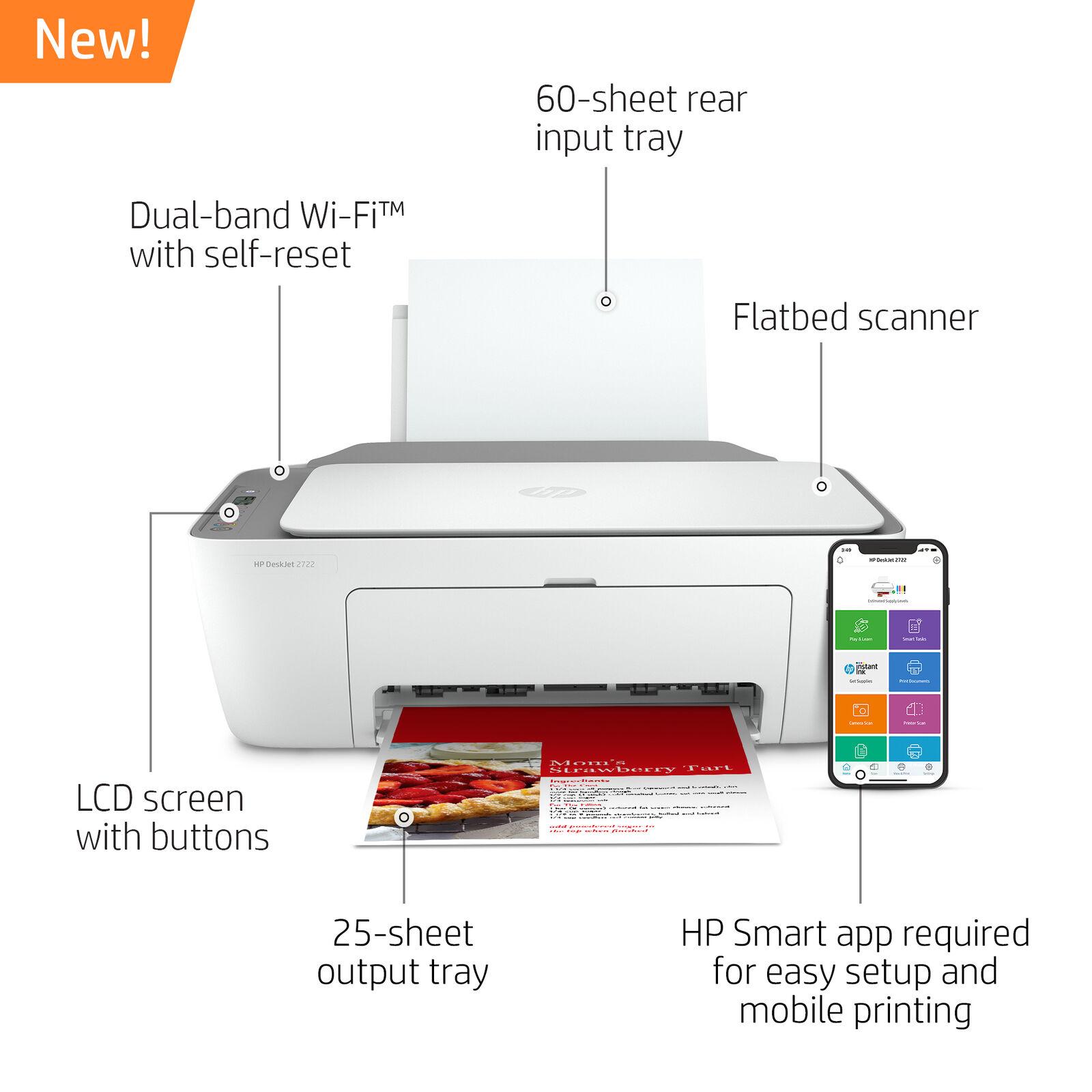 New HP DeskJet 2722 All in One Wireless Color Inkjet Printer