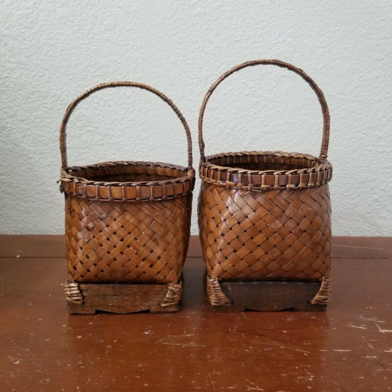 VTG 1992 Chinese Woven Baskets Lot of 2 Handmade
