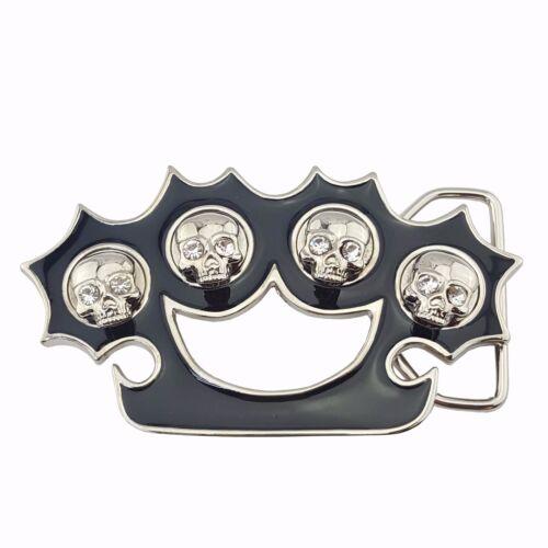 Skull Brass Knuckle Buckle in Silver from Rock Rebel