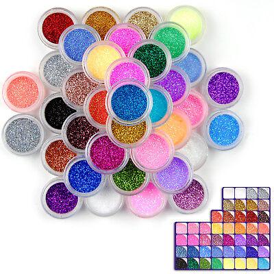 Acrylic Nail Kit Powder (48 Colors Glitter Nail Art Dust Kit UV Acrylic Nail Sparkle Bright Powder Set )