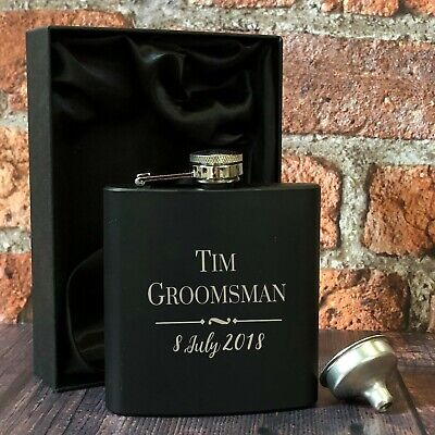Personalised Groomsman Black 6oz Hip Flask Gifts Ideas For Wedding Favours - Ideas For Groomsmen Gifts