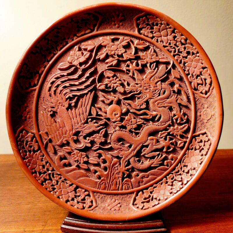 Chinese Dragon And Phoenix Cinnabar Plate