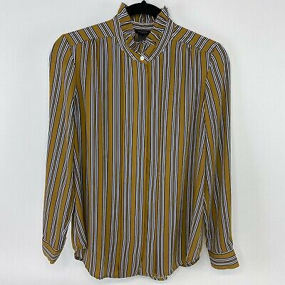 Ann Taylor factory womens size small ruffle high neck stripped mustard blouse -