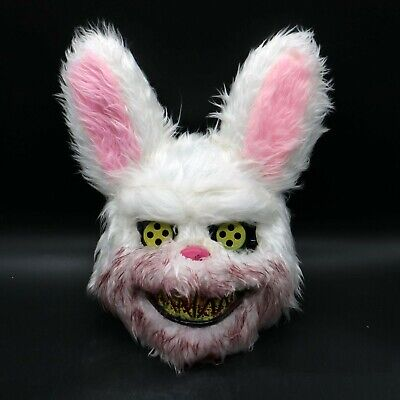 White Bunny Rabbit Bloody Fur Teeth Creepy Scary Mask COSTUME Halloween Cosplay](Scary Rabbit Mask Halloween)
