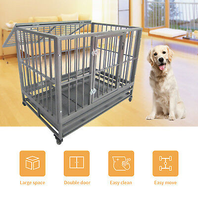 """36""""/43""""Large Heavy Duty Metal Dog Crate Pet Kennel Cage Playpen with Tray&Wheels"""