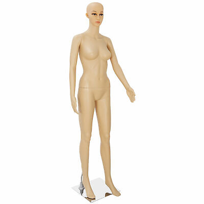 Female Mannequin Plastic Clothes Head Turns Dress Form Realistic Display W Base