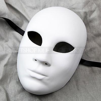 Plain White Craft Unpainted Venetian Masquerade Mardi Gras Party Full Face Mask - Venetian Full Face Mask