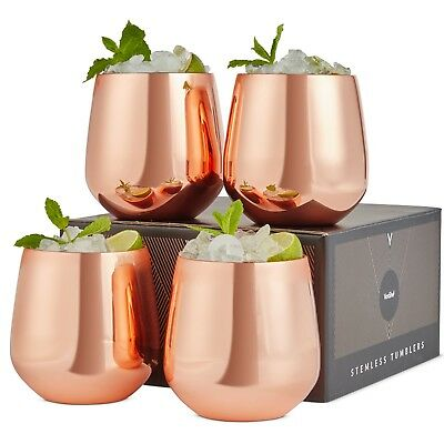 VonShef Set of 4 Copper Stemless Wine Glasses 12oz Stainless Steel with Gift Box