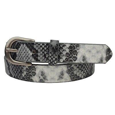 "1"" width Hot Trendy Python Print Leather belt in Gray"
