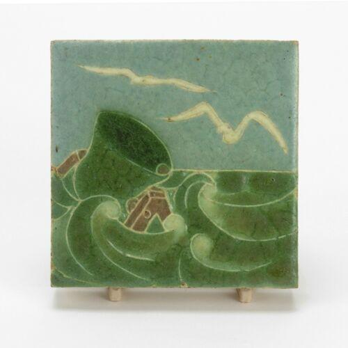 Grueby Pottery Faience 4x4 bell buoy gull ocean tile Arts & Crafts matte green