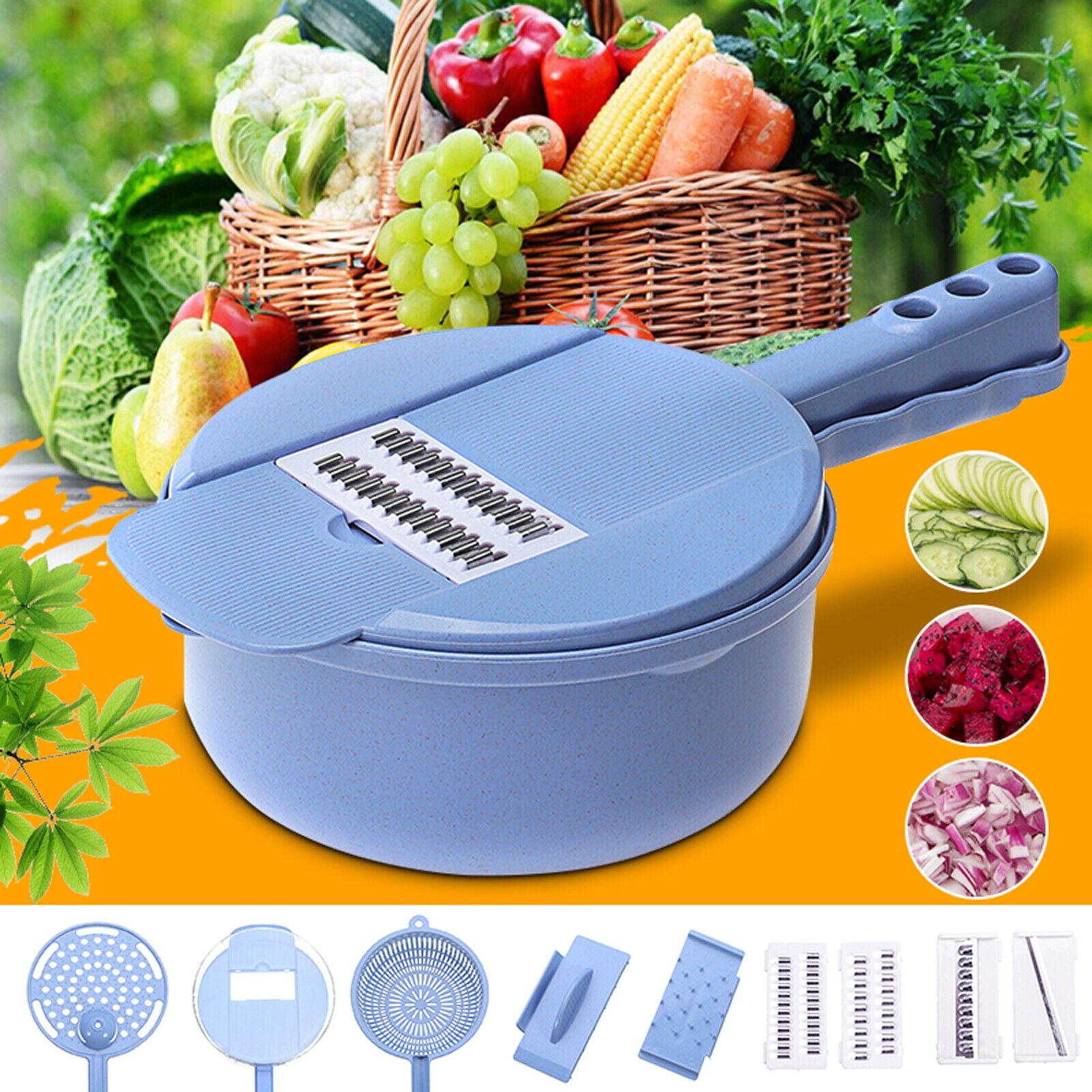 9pc Kitchen Mandoline Food Vegetable Fruit Julienne Slicer C
