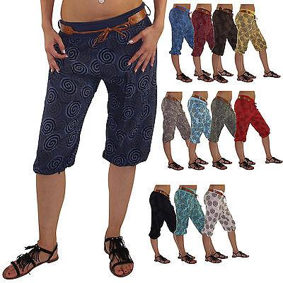 kurze Damen Haremshose Hose Pluderhose Pumphose Sommerhose Yogahose DK016 Yoga-hosen Kurz