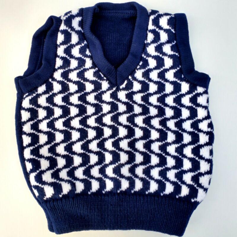 Adorable Vintage Childs Sweater Vest 70s Blue Knit Retro Pattern Size 4 5 Yr Old