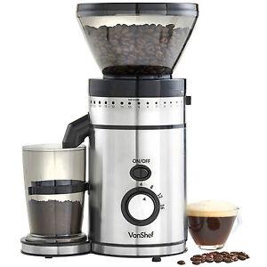 VonShef Premium Electric Burr Coffee Grinder Whole Bean Blender Mill 150W