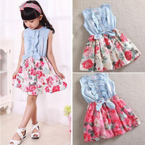Baby Kinder Mädchen Kleid Blumen Jeanskleid Sommerkleid Jeans Kleider 116 122 DE