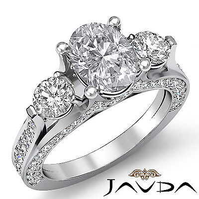 4 Prong Setting 3 Stone Oval Diamond Engagement Cathedral Ring GIA H SI1 2.3 Ct