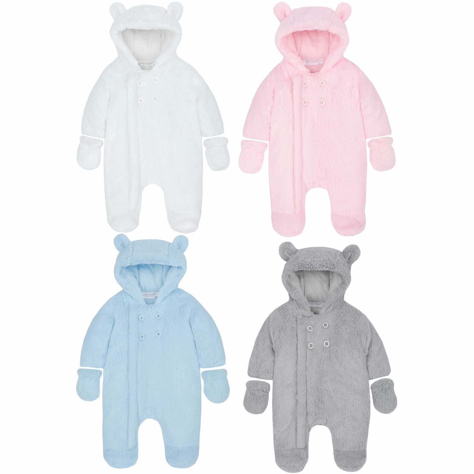 e5c2fb18a Baby Boys Girls Unisex Snowsuit Pram Suit Lined Detachable Mitts ...