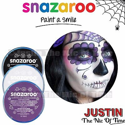 SNAZAROO FACE BODY PAINT MAKE UP HALLOWEEN BLACK WHITE DAY OF THE DEAD SCARY KIT
