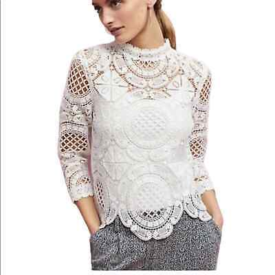 Anthropologie James Coviello White Lace Top Button Back Size Large Doily Lovers
