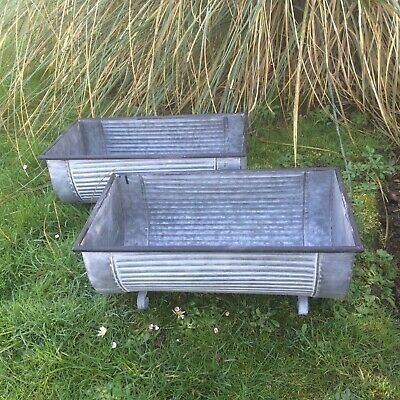 2 Trough Vintage Style Grey Zinc Galvanised Metal Garden Planter Flower Pot/Tub
